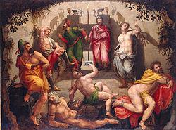ציור מהמאה ה 16 של משל המערה של אפלטון