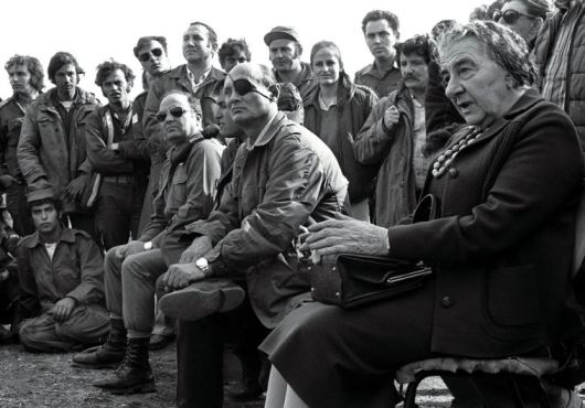 Golda Meir and Moshe Dayan (photo credit REUTERS)