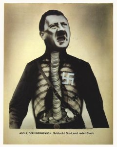 Heartfiled Political Poster - Hitler as Superman, swallows gold and and spouts Junk. Courtesy of Heartfield official site.